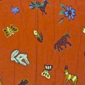 1.75 yds Brunschwig Embroidered Whimsical Animals 100% Cotton Upholstery Fabric