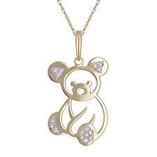 "10K Yellow Gold Diamond-Studded Teddy Bear Shaped Pendant Necklace 18"""