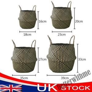 Seagrass Belly Basket Flower Plant Storage Woven Wicker Basket Pot Home Decors