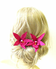 2 x Large Hot Pink Orchid Flower Hair Pins Vtg Rockabilly Beach Clip 1950s 1323