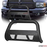For 02-09 Dodge Ram Truck Matte Black Studded Mesh Bull Bar Bumper Grille Guard