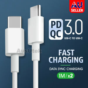 2x USB Type C to USB-C Cable Charge PD Quick Charging Data Fast Charger Samsung