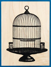 Bird Cage Rubber Stamp by Stampland - Old Fashioned Cage for Pet Bird - Empty