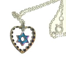 Pendant Multicolored Sparkle Venice Italy Judaica Magen David Star Crystal