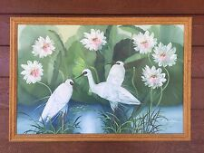 LRG BEAUTIFUL VINTAGE FRAMED WATER BIRD PAINTING SIGNED A.CRAWFORD 97 x 65cm