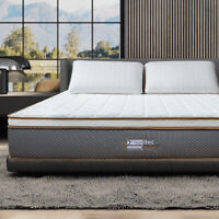 "Bedstory 10 "" Latex Memory Foam Mattress Natural Hybrid Pocket Spring Coils Bed"
