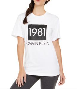 Calvin Klein Women White Cotton 1981 Bold Lounge Sleep T-Shirt Size S NWT 38$
