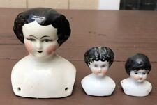 Vintage Lot 3 China Porcelain Doll Heads Molded Black Hair Blue Eyes
