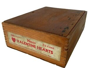 Valentine Hearts Crate Vintage Wood Necco New England Confectionery Co As Is