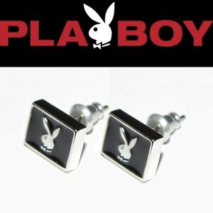 Mens Playboy Earrings Bunny Ear Stud Black Enamel Silver Platinum Plated y2k NOS