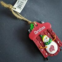 Christina Red Sled Christmas Ornament Snowman Personalized Name NEW