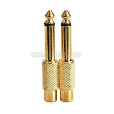 UN3F 2pcs 6.35mm 1/4inch Male Mono Plug To RCA Female Audio Adapter Connector