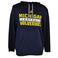 NCAA Michigan Wolverines Adidas Mens Hoodie Sweater Winter Fleece Hooded Navy