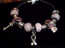Breast Cancer AWARENESS European PINK & Lt PINK Glass Bead HOPE Bracelet N-11