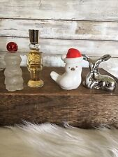 Lot of 4 Vintage Avon Glass Perfume Bottles Winter Holiday Silver Fawn More