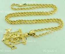 14k Yellow Gold Hollow Rope chain necklace & cross Anchor Pendant 18 in 10.5gram