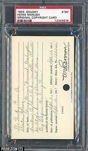 1933 Goudey #187 Heinie Manush Original Copyright Patent Proof Registration PSA
