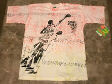 New Vintage 90s Basketball Beach Surf All Over Print Graphic T-Shirt Adult Sz Xl