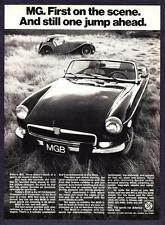 """1947 MG-TC Roadster 1974 MG MGB Convertible """"First on the Scene"""" print ad"""
