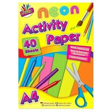 A4 Fluorescent Craft Pad Neon Colour Paper Drawing Art ScrapBook for Kids