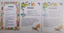 3 cartes prénoms - A encadrer - PIERRE PIERRE THIERRY