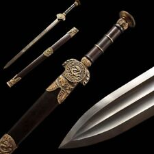 Hand Forged pattern steel Three Loong short Sword Pure copper Fittings #5044
