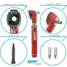 YNR Red Mini Pocket Otoscope Fibre Optic Medical Examination NHS GP CE Approved