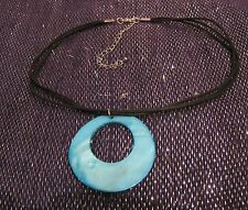 Great triple strand black book lace style necklace blue shell disc pendant
