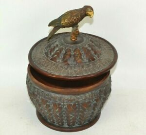 "Jungle Parrot Bird on Bowl With Lid Home Decor 5.5"" Wide Candy Dish Container"