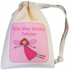 Personalised - Fairy Asthma Inhaler bag - TINY cotton drawstring bag - EMPTY