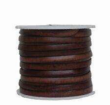 Ziegenleder Lederriemen, Lederband flach dunkelbraun, Kanten schwarz gefärbt, Lä