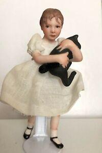 ARTIST JANE BRADBURY BISQUE DOLLHOUSE DOLL YOUNG GIRL &  HER CAT 1980s