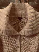 Talbots Oatmeal Womens Chunky Heavy Knit Cardigan Oversized Sweater W/Pockets SM
