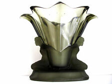 ANTIQUE,ART DECO WALTHER&SOHNE SMOKEY-GREEN GLASS VASE WITH FROSTED FIGURES RARE