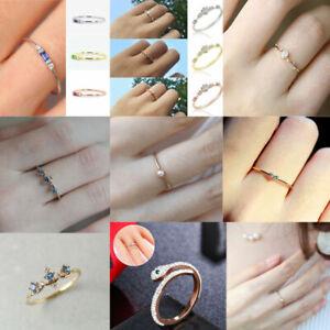 Süß Kleine Kristall Ring Weiß Gold Hochzeit Verlobung Band Schmuck Geschenk .