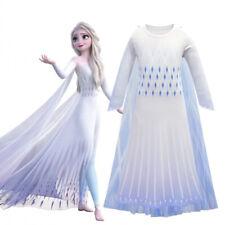 2019 New Girls Frozen 2 White Elsa Costume Party Birthday Dress + Cape 3-10 Yrs
