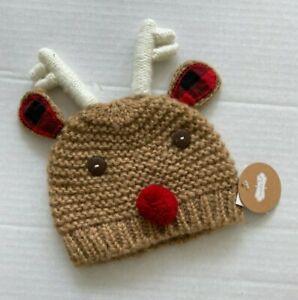 Mud Pie Reindeer Beanie Hat Christmas Winter Size 0-6 Month NWT