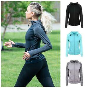 Ladies Full Zip Long Sleeve Running Training Sports Hooded Top Thumb Holes Gym