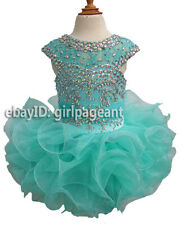 infant/toddler/baby Crystals Cap Sleeves Pageant Dress  204-1 with hairbow