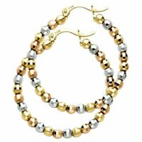 14K Tri Color Gold beads ball Hoop Earrings for Girls - more sizes available