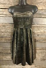 Free People Women Strapless Dress Sz S Black Gold Velvet Baby Doll Party Holiday