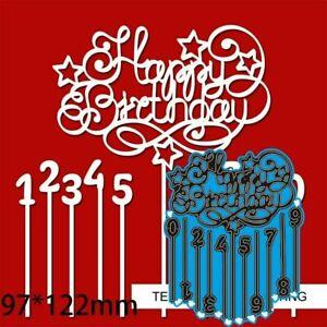 Numbers Happy Birthday Metal Cutting Dies Scrapbooking Album Craft Card Making