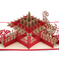 Chinese Traditional Jiangnan Pavilion 3D Greeting New Year Lucky Gift Card Jian