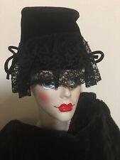 Vintage Mourning Bonnet Hat New York Creation Black Velvet & Lace Union Label