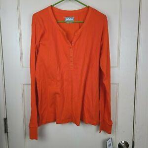 Cabela's Women's Shirt Blaze Orange 1/4 Button Long Sleeve Top Size: L - New