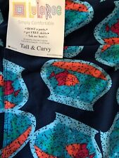 Lularoe TC Tall Curvy Leggings Solid Blue Fish 🐠 In Bowl HTF Unicorn New 🦄