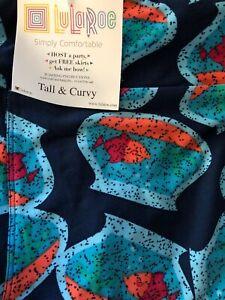 Lularoe TC Tall Curvy Leggings Solid Blue Fish 🐠 In Bowl HTF Unicorn New 🦄