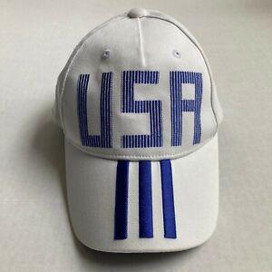 Adidas USA Snapback Youth Hat White Blue Stripes Adjust One Sz Youth Cap Olympic