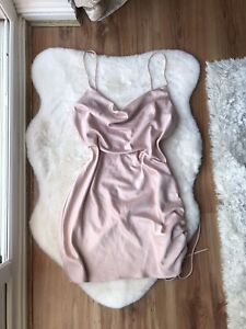 Topshop Light Pink Satin Cowl Ruched Side Dress Size 12 SOLD OUT