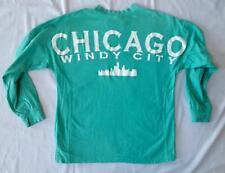 travel tourist souvenir long sleeve baggy shirt Chicago Windy City aqua green XS